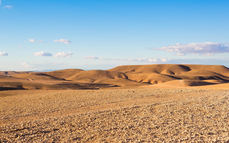 Die Agafay-Wüste in Marokko.
