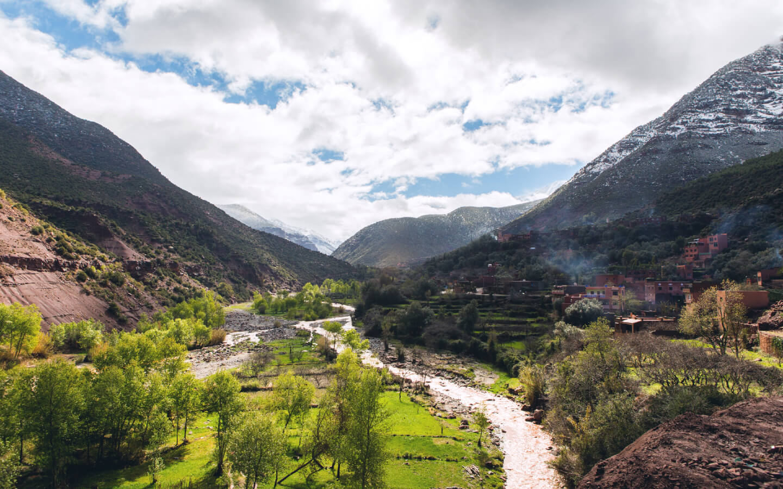 Das Tal des Atlasgebirges in Marokko.