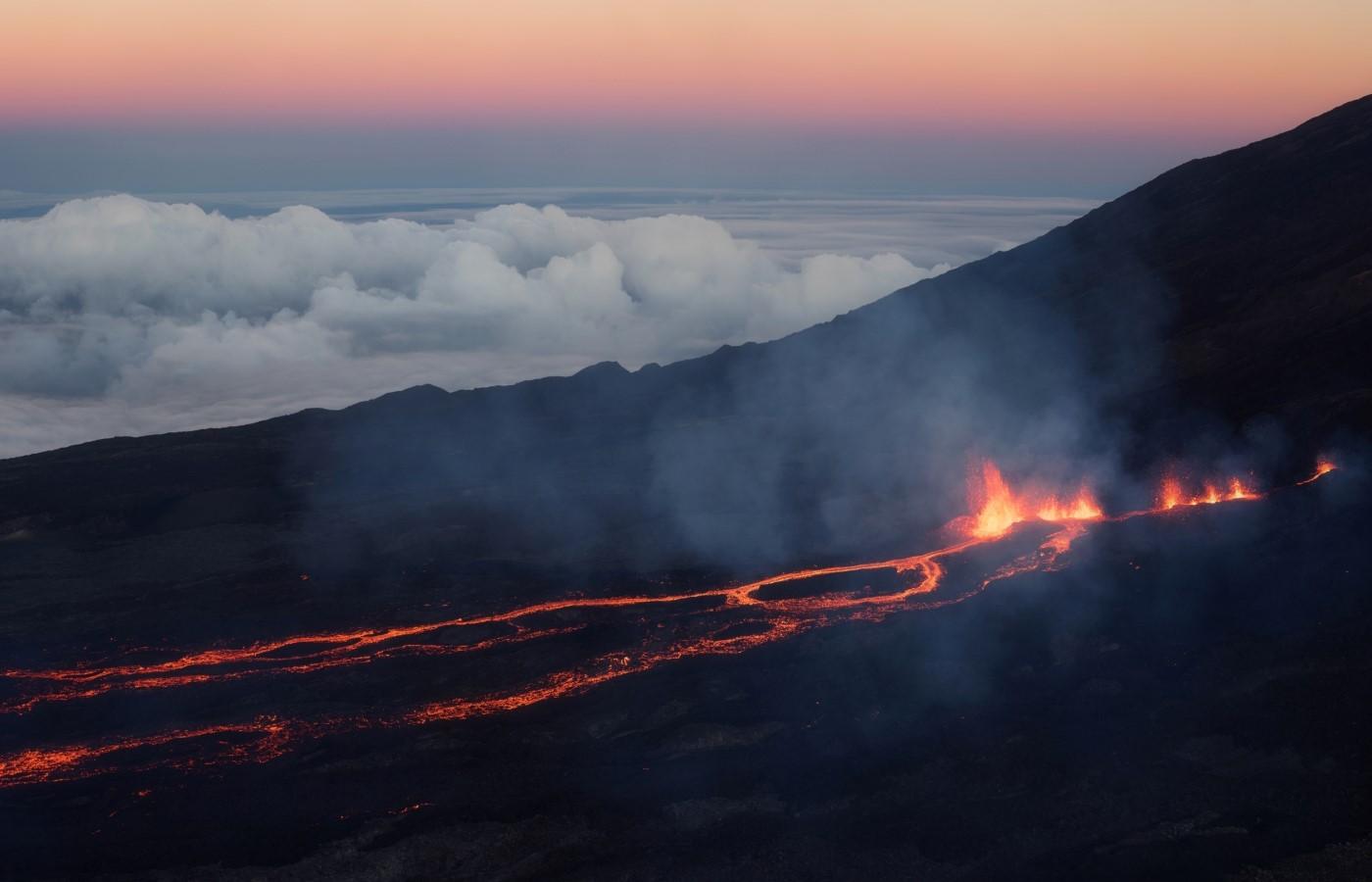 Die Vulkan-Lava des Piton de la Fournaise.