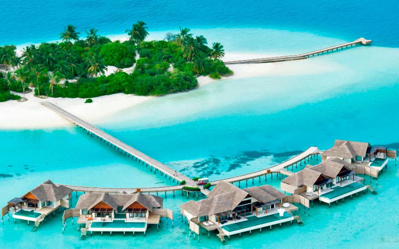 Wasserbungalows auf den Malediven.