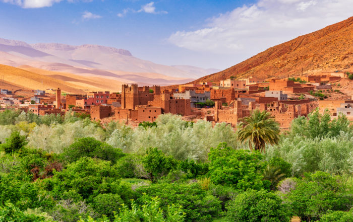 Die bekannte Stadt Aït-Ben-Haddou am Hohen Atlas in Marokko.