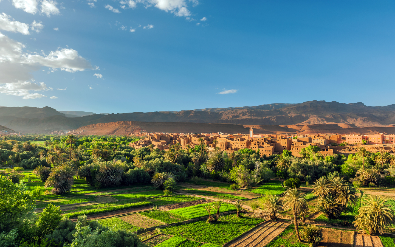 Felder im Atlas Gebirge in Marokko.
