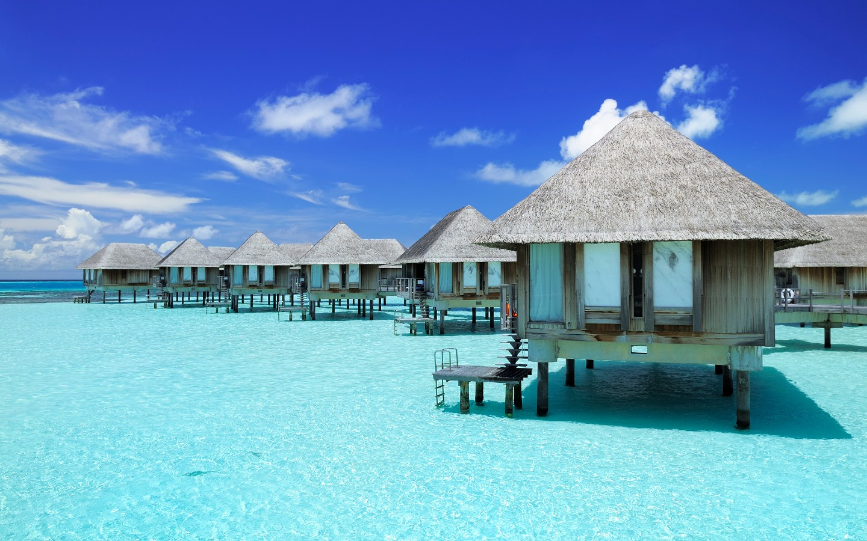 Eine Wasservilla auf den Malediven.