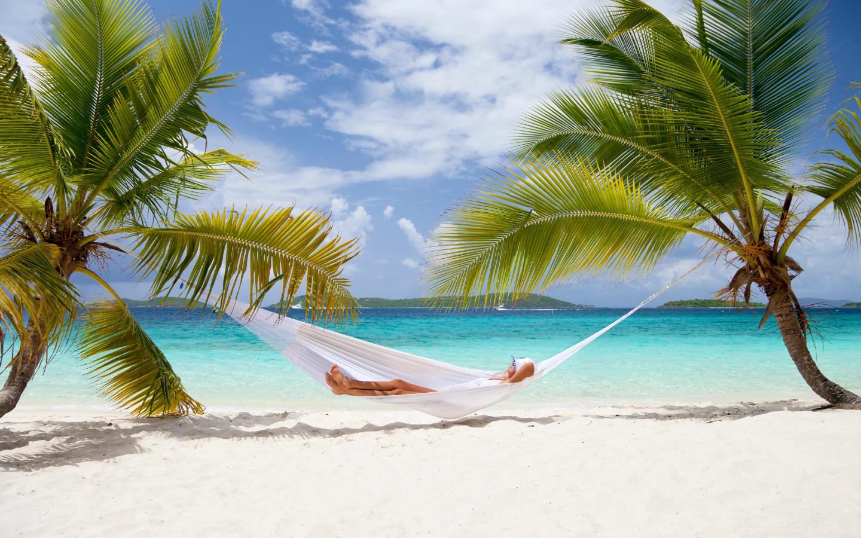 Eine Frau auf einer Hängematte an einem Strand mit Palmen.