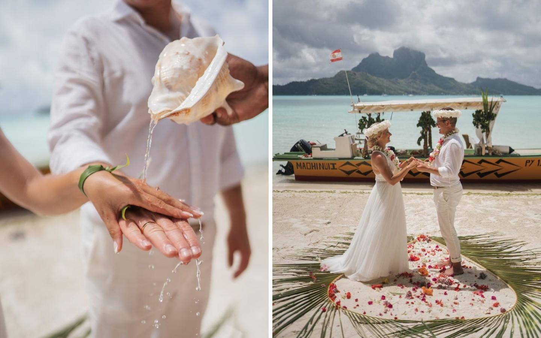 Eine Hochzeit auf der Insel Bora Bora während der Corona-Pandemie.