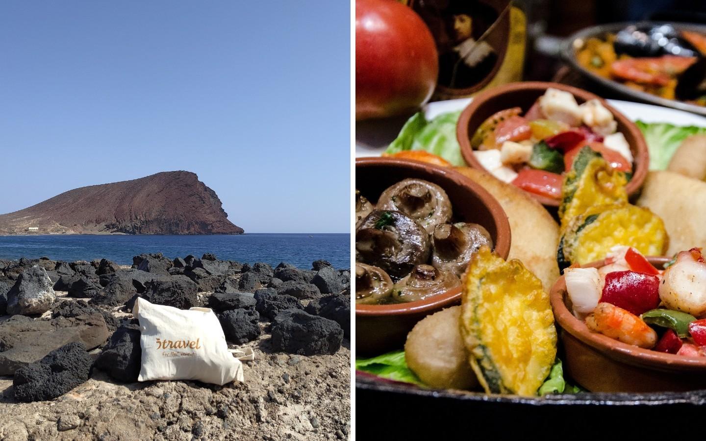 Ein Strand auf der Insel Teneriffa und ein Bild eines lokalen Gerichts.
