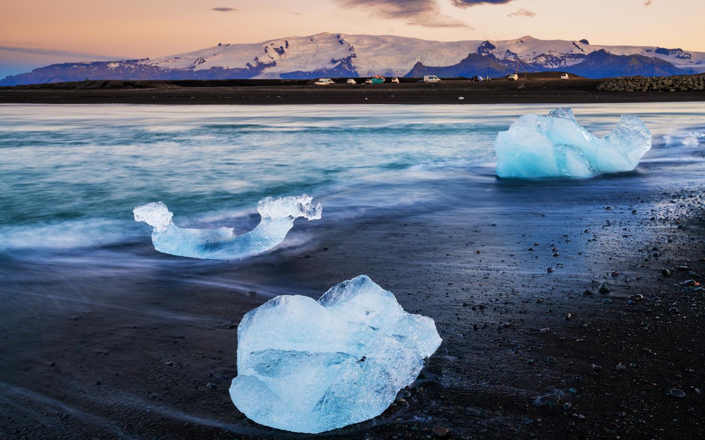 Der raue Diamant Beach auf Island.