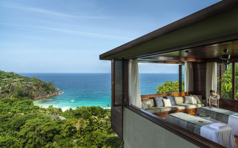 Das Spa im Hilton Seychelles Labriz Resort & Spa mit Meerblick.