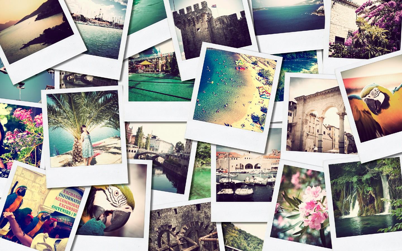 Eine Fotocollage mit Reiseerinnerungen erzeugt Urlaubsfeeling zu Hause.