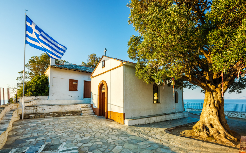 Die Kapelle Agios Ioannis auf der Insel Skopelos.