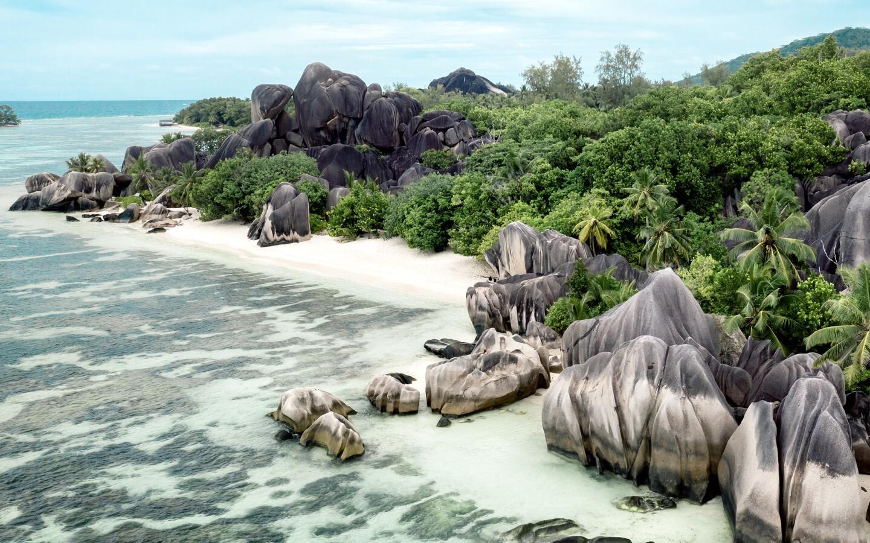 Die bekannten Granitfelsen der Seychellen.