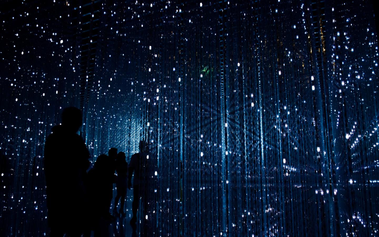 Geplante Lichtstrahlen für die Expo 2020 in Dubai.